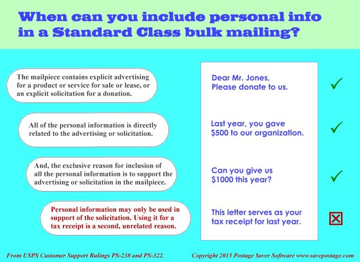 When can you include personalized info in a Marketing Mail bulk mailing