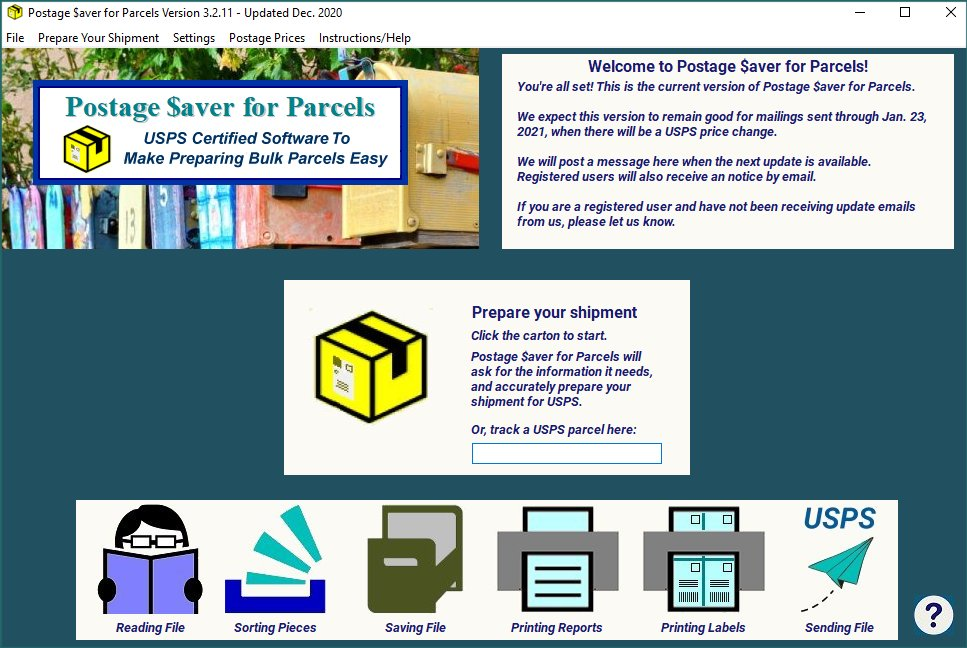 Postage $aver for Parcels main screen