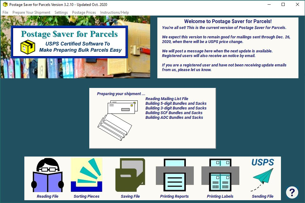 Postage $aver for Parcels sorting progress screen